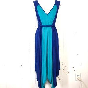 SANGRIA Blue & Teal Handkerchief Skirt Dress ~sz S